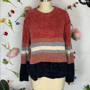 Cotton emporium chenille striped sweater